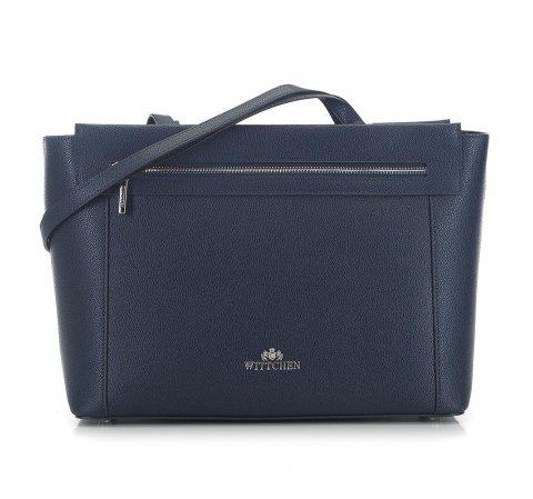 Utazó koffer alakú táska szemcsés bőrből, sötétkék, 91-4-702-7, Fénykép 1