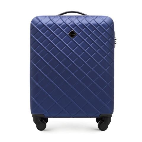 ABS kis bőrönd ferde rácsos, sötétkék, 56-3A-551-11, Fénykép 1