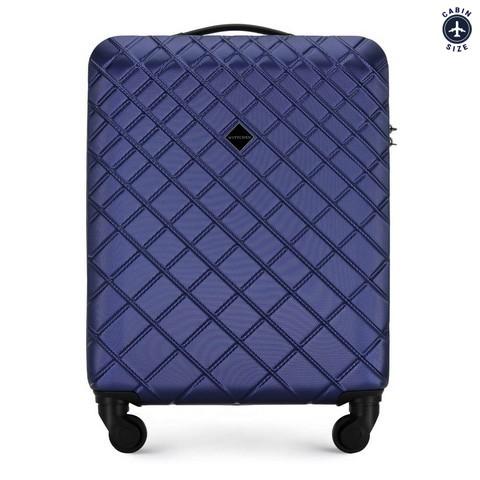 ABS bőrönd ferde rácsos, sötétkék, 56-3A-551-30, Fénykép 1