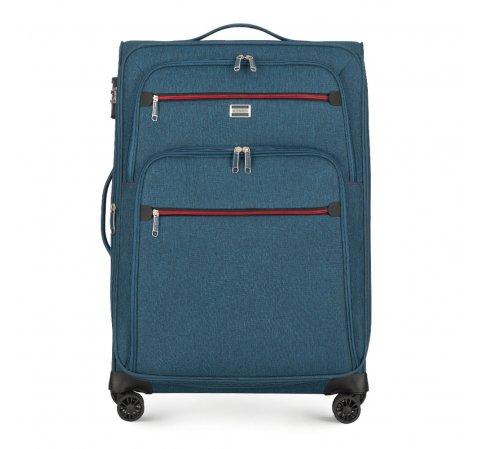 Közepes bőrönd, sötétkék, 56-3S-502-11, Fénykép 1