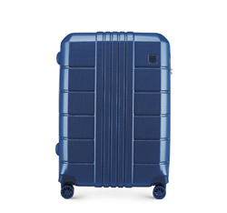 Közepes bőrönd, sötétkék, 56-3P-822-90, Fénykép 1
