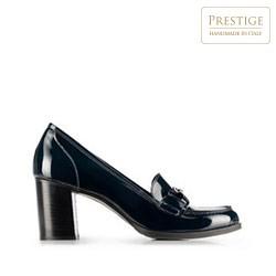 Női hegyes orrú bőrcipő, sötétkék, 91-D-104-7-35, Fénykép 1