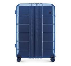 Nagy bőrönd polikarbonát bordás, sötétkék, 56-3P-823-90, Fénykép 1