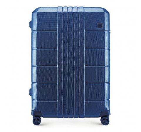 Nagy bőrönd polikarbonát bordás, sötétkék, 56-3P-823-60, Fénykép 1