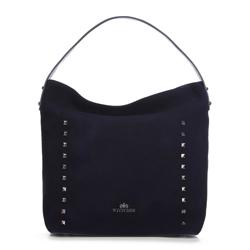 Shopper táska szarvasbőrből szegecsekkel, sötétkék, 91-4E-613-7, Fénykép 1