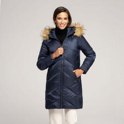 Női pehely dzseki kapucnival, sötétkék, 91-9D-401-7-XL, Fénykép 1