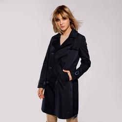 Női kétsoros trendi kabát, sötétkék, 92-9N-401-7-M, Fénykép 1