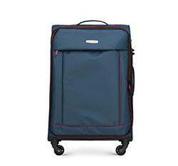 Közepes bőrönd, sötétkék-piros, 56-3S-462-91, Fénykép 1