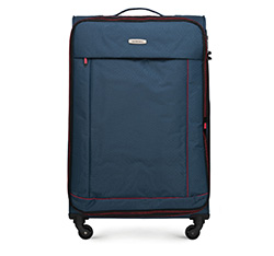 Nagy bőrönd, sötétkék-piros, 56-3S-463-91, Fénykép 1
