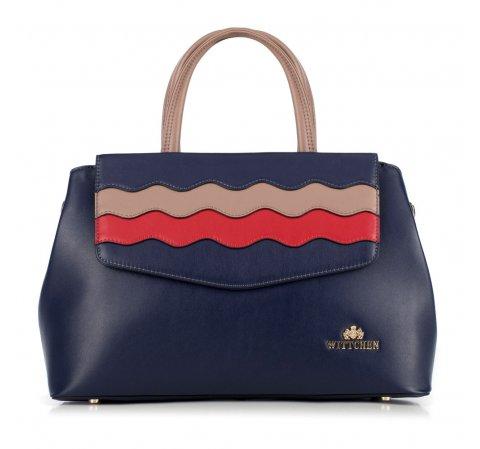 Női táska, sötétkék-piros, 89-4E-501-7, Fénykép 1