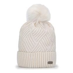 Dámská čepice, špinavě bílá, 93-HF-003-0, Obrázek 1