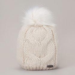 Dámská čepice, špinavě bílá, 93-HF-009-0, Obrázek 1