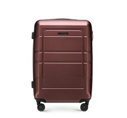 Средний чемодан с геометрическими прорезями, коричневый, 56-3H-542-3R, Фотография 1