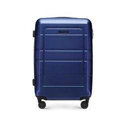 Средний чемодан с геометрическими прорезями, темно-синий, 56-3H-542-9R, Фотография 1