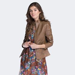 Dámská bunda, světle hnědá, 88-09-201-5-M, Obrázek 1