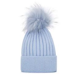 Dámská čepice, světle modrá, 93-HF-010-N, Obrázek 1