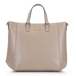Классическая кожаная сумка-шоппер, светло-бежевый, 92-4E-644-9C, Фотография 1