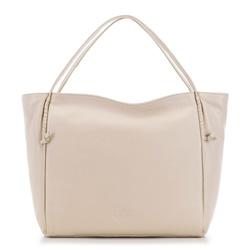 Кожаная сумка-шоппер с декоративными узлами, светло-бежевый, 91-4E-304-9, Фотография 1