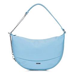 Женская сумка через плечо полумесяц с цепочкой, светло-голубой, 92-4Y-580-7, Фотография 1