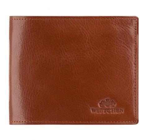 Кожаный мужской кошелек с откидной панелью, светло-коричневый, 21-1-040-1, Фотография 1