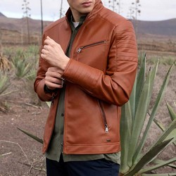 Куртка мужская со стегаными карманами, светло-коричневый, 92-9P-152-5-S, Фотография 1