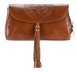 Женская кожаная сумка через плечо с мандалой и подвеской-кисточкой, светло-коричневый, 04-4-069-5, Фотография 1