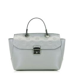 Женская кожаная сумка-саквояж, светло-серый, 91-4E-608-8, Фотография 1