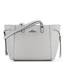 Кожаная сумка-шоппер с декоративными ремешками, светло-серый, 89-4-515-8, Фотография 1
