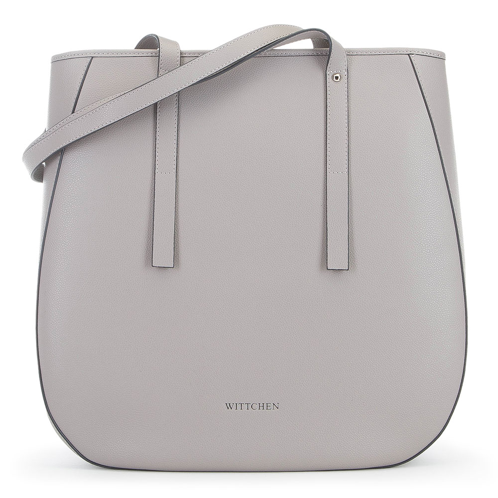 Женская кожаная сумка-шоппер, светло-серый, 91-4E-602-8, Фотография 1