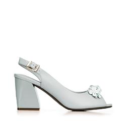 Blokk sarok peep toe bírósági cipő, szürke, 92-D-552-8B-37, Fénykép 1