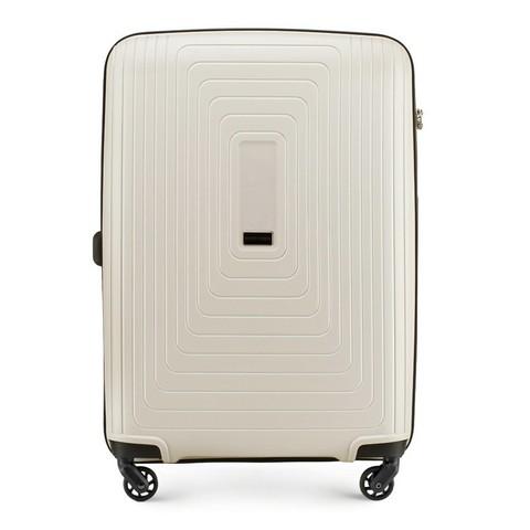 Közepes bőrönd polipropilén geometrikus minta, világos bézs, 56-3T-782-10, Fénykép 1