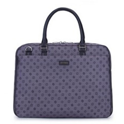 Nagy női laptop táska bőrből  monogrammal, szürke, 93-4-252-8, Fénykép 1
