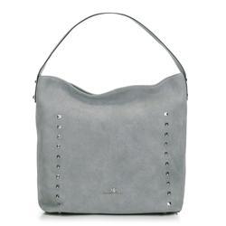 Shopper táska szarvasbőrből szegecsekkel, szürke, 91-4E-613-8, Fénykép 1