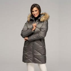 Női pehely dzseki kapucnival, szürke, 91-9D-401-8-L, Fénykép 1