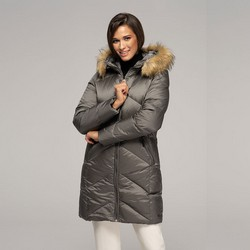 Női pehely dzseki kapucnival, szürke, 91-9D-401-8-M, Fénykép 1