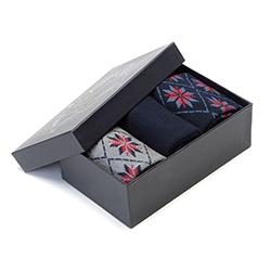 Férfi zokni norvég mintás, szürke-sötétkék, 91-SK-012-X1-43/45, Fénykép 1
