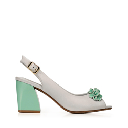 Blokk sarok peep toe bírósági cipő, szürke - zöld, 92-D-552-8-40, Fénykép 1