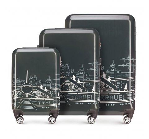 ABS Utazási bőröndszett polikarbonát, szürkésfehér, 56-3A-47S-1P, Fénykép 1