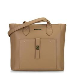 Классическая сумка-шоппер с передним карманом, темно-бежевый, 29-4Y-002-9G, Фотография 1