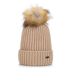 Женская шапка с помпоном омбре, темно-бежевый, 93-HF-013-9, Фотография 1