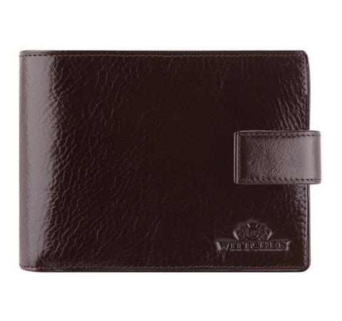 Мужской кожаный кошелек среднего размера, темно-коричневый, 21-1-038-5, Фотография 1