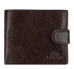 Мужской кожаный кошелек на кнопке, темно-коричневый, 21-1-125-4, Фотография 1