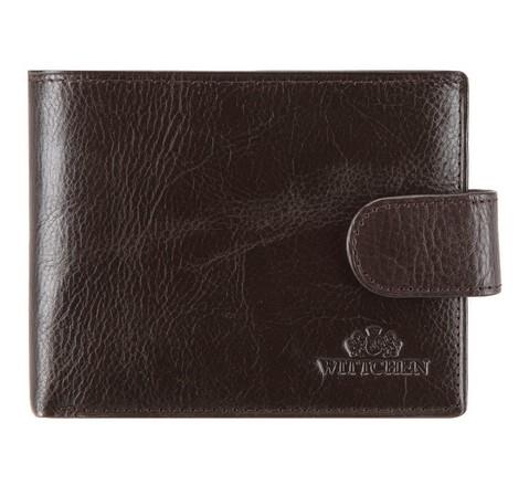Классический кожаный мужской кошелек, темно-коричневый, 21-1-127-4, Фотография 1