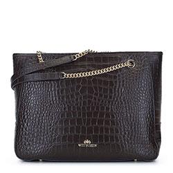 Кожаная сумка-шоппер с цепочкой на ручках, темно-коричневый, 93-4E-602-04, Фотография 1