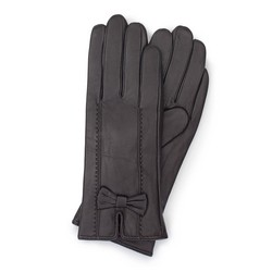 Женские кожаные перчатки с бантом, темно-коричневый, 39-6-536-BB-M, Фотография 1