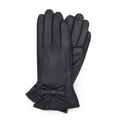Женские кожаные перчатки с бантом, темно-коричневый, 39-6-550-BB-M, Фотография 1