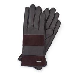 Женские кожаные перчатки с горизонтальными вставками, темно-коричневый, 39-6-576-BB-M, Фотография 1