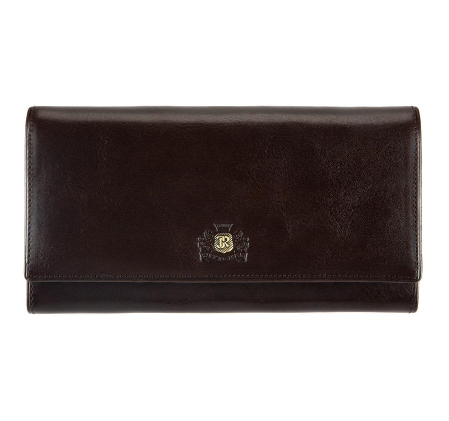 Женский кожаный большой кошелек с гербом, темно-коричневый, 22-1-075-3, Фотография 1
