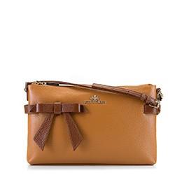 Женская кожаная сумка через плечо с бантом, темно-коричневый - светло-коричневый, 92-4E-308-5, Фотография 1