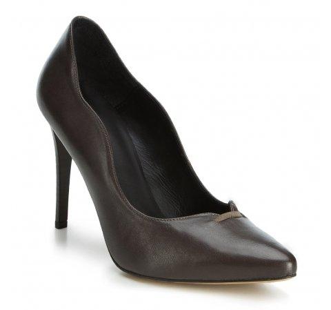Туфли с волнистыми вырезами на шпильке, темно-серый, 89-D-850-8-41, Фотография 1